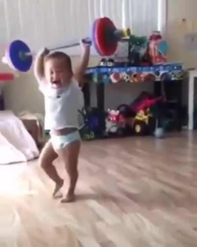 Lifting baby- very strong and loud