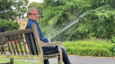 My friends dad, blowing off steam at Kew Gardens London