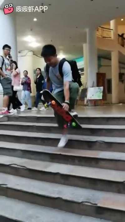 Crazy skateboard trick