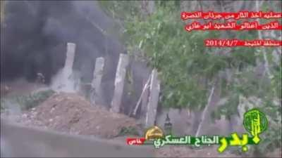 ISIS fighters in a trench are hit with a grenade in Iraq (July 4th, 2014)
