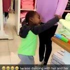 Kid dances until Mannequin's arm fall off. He might need therapy after this LOL!!