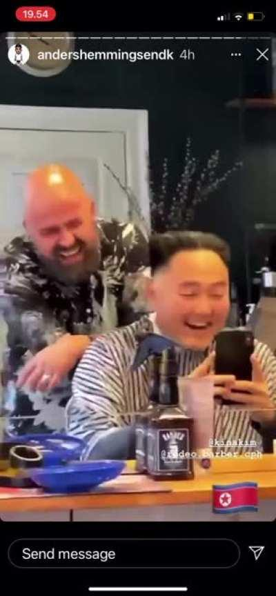 """This barbers laugh after cutting """"Kim jong un"""""""
