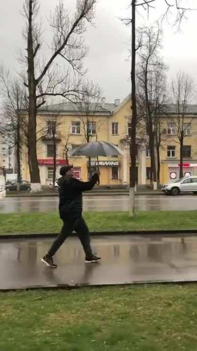 This umbrella doing a call trickshot