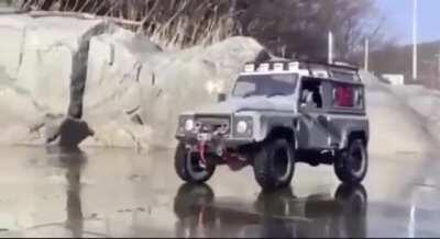 WCGW Driving a Land Rover on a frozen river