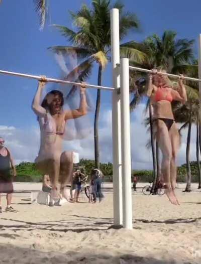 Alessia Kofftun and Friend get Creative on the Pull-up Bar [gif]