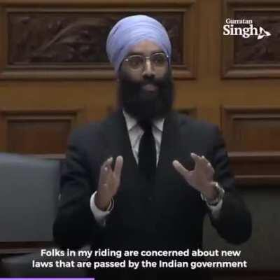 [J SaiDeepak] Kya coordination hai bhai. Maan gaye. Ise kehte hain ecosystem. [On Canadian politician Gurratan Singh condemning Indian govt's use of water cannons and tear gas on farmers protesting