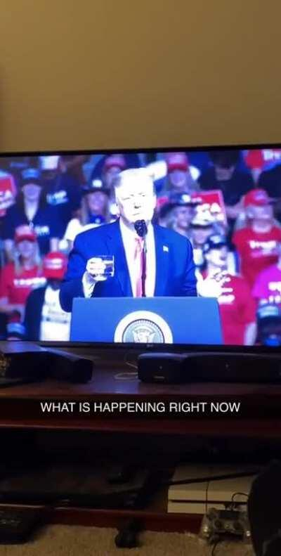 My friend's commentary throughout Trump's rally was amazing. This was far and again the best part of it