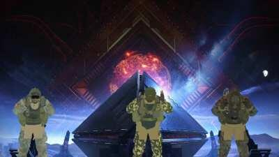 The boys dancing in front of warmind