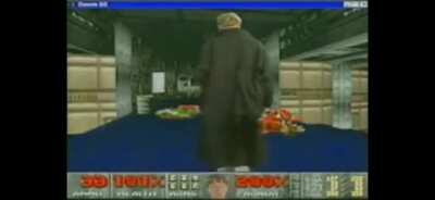 Bizarre coincidental similarities to Columbine as Bill Gates wears a duster and holds a shotgun in the game Doom to promote Windows 95 in 1994.