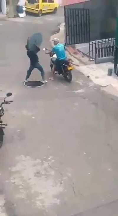 Idiot man doing stupid thing in the street