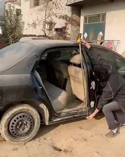New inventive way to fix a broken car door