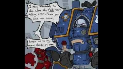 A young Astartes initiate attempts to bond with a veteran with mixed results
