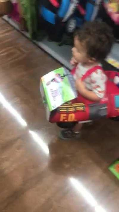 Young firefighter scared by evil clown