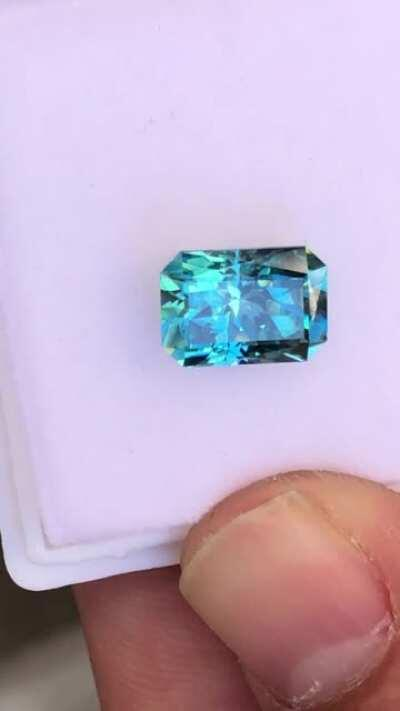 Cambodian blue zircon 6.2 ct just finished.