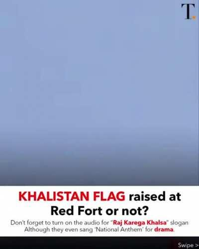YES, the Khalistan flag was raised on the Red Fort! Credits: @thetatvaindia on Instagram