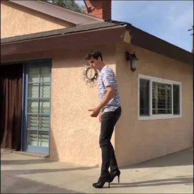 Doing a backflip in high heels