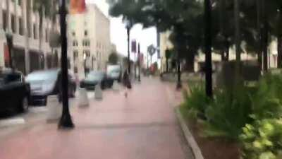 Capitol terrorist running away from media as she exits federal courthouse wearing GPS ankle bracelet
