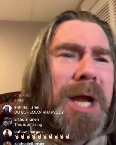 Roger Clark rocking out on Instagram live.