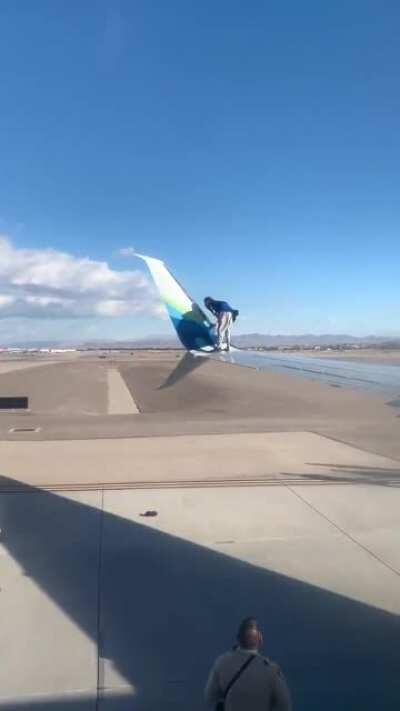 WCGW trying to climbs onto the wing of an airline at Las Vegas airport.