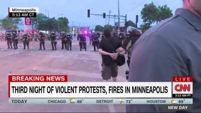 CNN reporter Oscar Jimenez was arrested live on air in Minneapolis this morning.