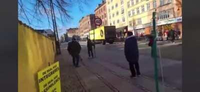 """Member of danish racist political party """"stram kurs"""" gets smacked in the mouth, for burning the Quran in public"""