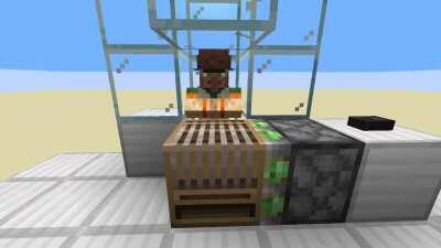 I made a villager work station switcher for every pushable work station block that works with Rays Works new farm. A lot of the redstone is to make it 100% spam proof. It is not perfect but I am not an expert at redstone so I am happy.