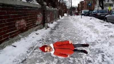 Freddie slips on ice