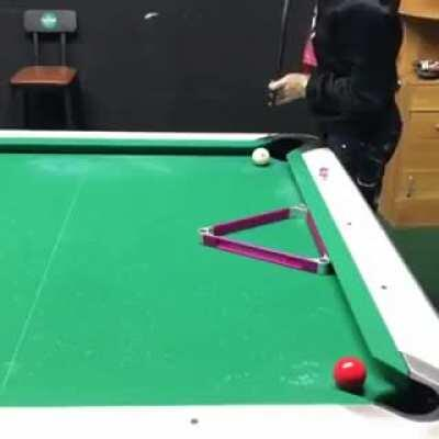 A pro pool player in action