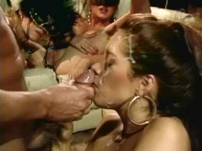 Francesca Le gets her face totally plastered by Peter North in Bare Market (1993)