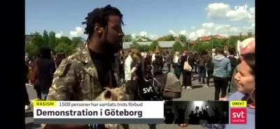 American man in Sweden talk about the differences between Swedish and American police during a BLM protest yesterday