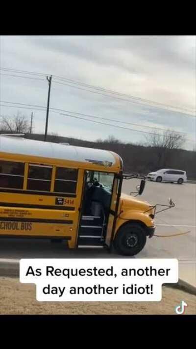 Jerk runs through a school bus stop light and gets some swift karma