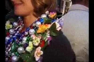 College instructure flashing pussy at mardi gras