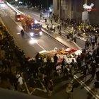 Hong Kong protesters quickly dismantle roadblock to let firefighters through