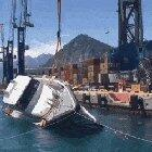 A yacht's anti-capsizing test for rough seas