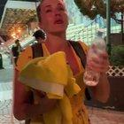 South African woman complains on 'both sides' in the middle of Hong Kong protests