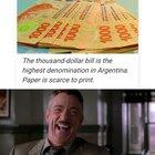Argentine gov. has printed so much money (doubled its monetary base) that it has run out of paper money