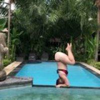 HMC as I yoga by the pool