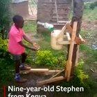 This nine-year-old Kenyan inventor has come up with an ingenious way to wash his hands, and reduce the spread of the coronavirus.