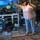 My mom playing the VR plank experience