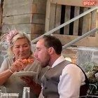 Dude gets so hammered at his wedding his new Mother in Law has to feed him