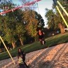 walking in front of a swing without looking