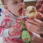 Babies first taste of ice cream.