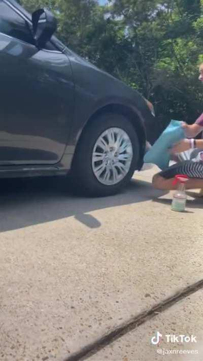Just cleaning my car, don't mind me