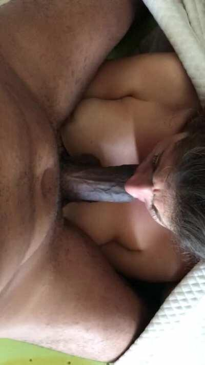 Hotwife training her throat to swallow all of my bbc [OC]