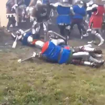 In the heat of Battle, Blue Knight tries to sexually assault the Knight with the frying pan!