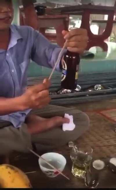 WCGW If I try to open a bottle with a thin piece of wood and use my hand as the hammer