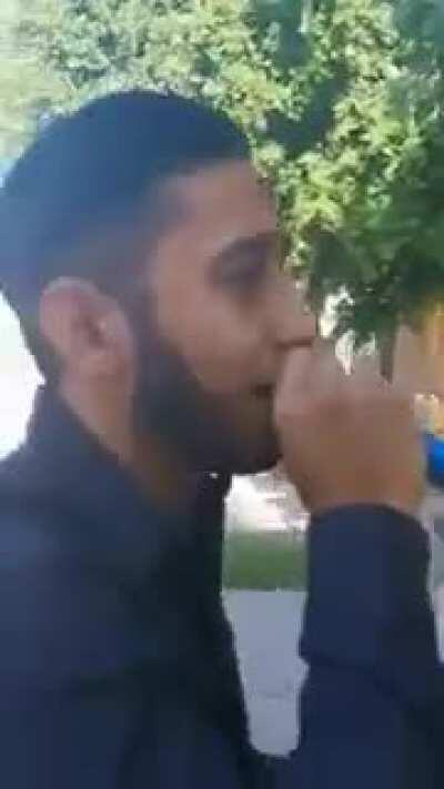 Guy serenades girl with boyfriend