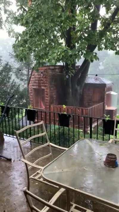 Rainstorm outside Philadelphia. Bonus shot of our treehouse.