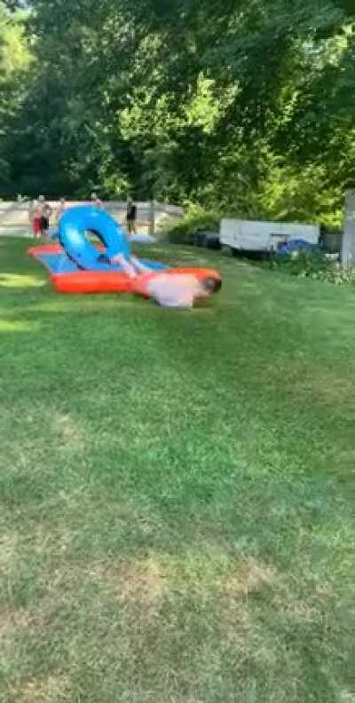 A couple drinks + slip n slide = meat crayon