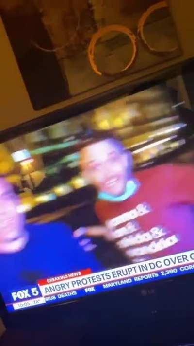 Man offers alternate dialogue to what Fox 5 reporter should be addressing.